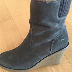 5fb5426b8 Lacoste Shoes - Lacoste Lazareth grey shearling lined wedge boots